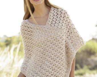 Knitted Poncho/ knit Poncho/alpaca poncho/wool poncho/wrap poncho/Spring Poncho  Made to order
