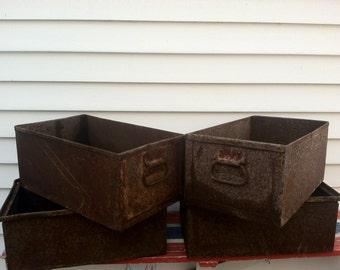Industrial Metal Boxes Vintage Rusted Steel Iron Handled Industrial Bins Storage Organization Mid Century Rust Machine