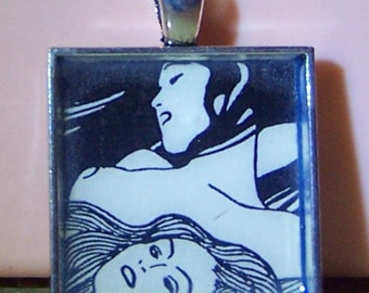 Vintage black and white girlie pinup girl lesbian image pendant necklace keychain