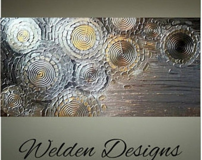 Impasto Painting Palette Knife Brush Metallic Gold Silver Large 24x48 Stretched Canvas