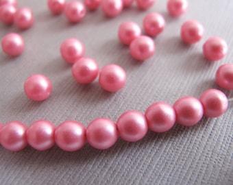 50pcs Pink Czech Druk 5mm Beads, Perfectly Pastel Pink Round Glass Beads - B-01RP-162
