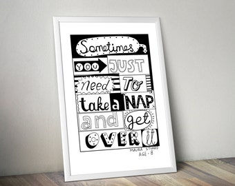 Printable quote. You just need to take a nap... Handwritten quote. Lettering. Wall decor. Wall art. Inspiration. INSTANT DOWNLOAD.