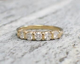 Five Stone Diamond Bar Set 14K Gold Wedding Engagement Ring Band Stackable