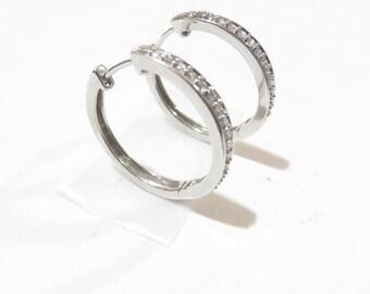 Elegant 14K White Gold .68 Ctw Diamond Hoop Earrings