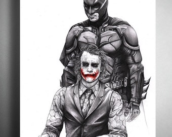 Batman and The Joker from The Dark Knight - Illustrated Giclee Print