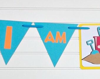 Beach ball banner, beach birthday party, beach ball theme, I am One beach banner, sand castle banner, beach baby shower, day at the beach