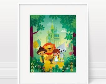 Wizard of Oz nursery wall art print - kids room decor, new baby gift, children's art, kids illustration