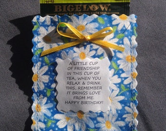 Birthday Friendship Tea Pouch, Poem & Tea Bag/Floral/Polka Dot