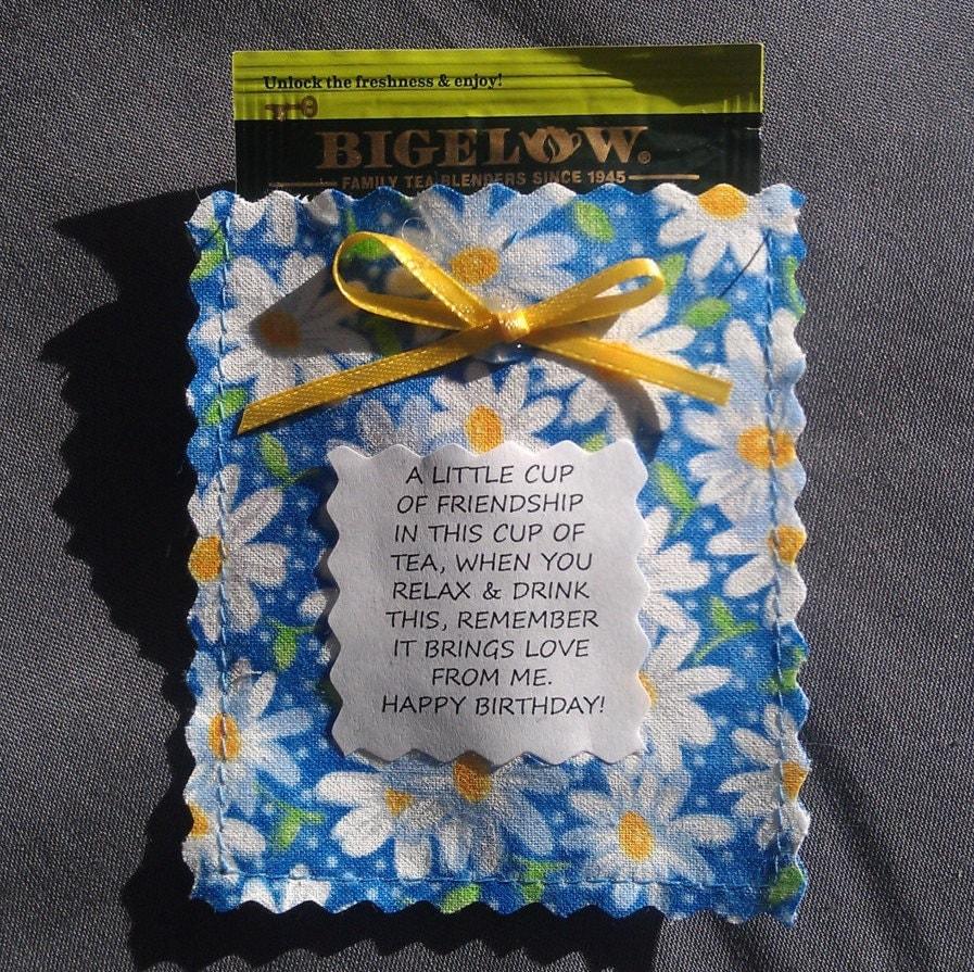 Birthday Friendship Tea Pouch Poem & Tea Bag/Floral/Polka Dot