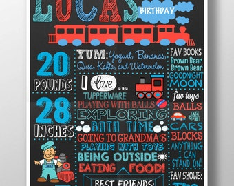 Train Birthday Party Themed Chalkboard for any age party All Aboard train themed party Choo Choo Train, unique train bday party ID# BRDAUT04