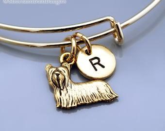 Yorkshire terrier bangle, Yorkie bracelet, Gold Yorkie charm bracelet, Yorkshire terrier charm, Expandable bangle, Initial bracelet