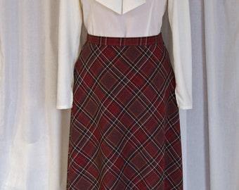 Handmade Mocha Plaid Skirt / CUSTOM LENGTH / Vintage-Style / 1930s / 1940s / Retro / Sz M-L