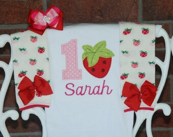 Baby Girl Strawberry First Birthday Outfit! Strawberry birthday outfit with applique bodysuit, leg warmers, and hair bow!