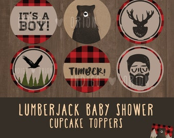 Lumberjack Baby shower Cupcake toppers | Round Tags | Instant download printable files | It's a boy, bear, timber, logger, bird, flannel.