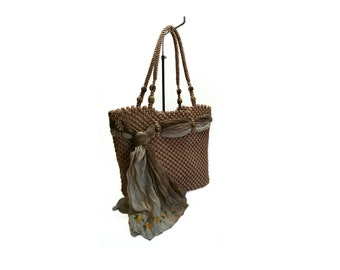Brown Macrame bag, handmade,tote,purse, handbag,