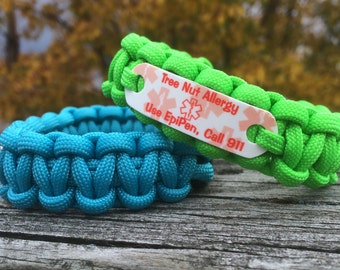 Tree Nut Allergy Bracelet - Use EpiPen Call 911 - Medical ID Paracord Bracelet - Allergy Bracelet in any stock color for kids or adults ~