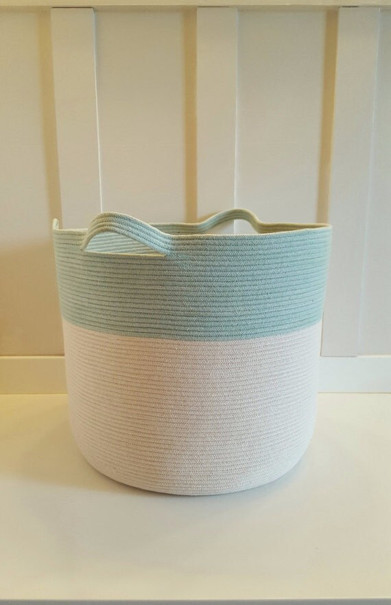 Xxl Aqua And White Rope Basket With Handles