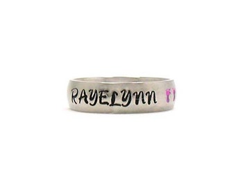Baby Name Ring, Name Ring, Baby Ring, Mom Ring, Personalized Mothers Ring, Custom Name Ring, Gift For Mom, Mothers Gift, Baby Feet Ring