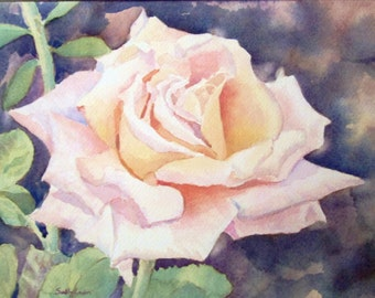 Single Pink Rose Watercolor Painting Flowers Original Watercolor Original Art Original Painting Rose Painting