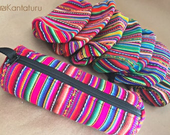 Ethnic Pencil Pouch, Multicolor Handmade Zipper Pouch, Inka Pattern Style Pencil Case, Boho Peruvian Print, Special Gift for Her, Fabric A