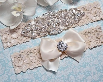 Wedding Garter Set,Ivory Wedding Garter, Ivory Bridal Garter, Ivory Garter Vintage, Wedding Garter Vintage, Ivory Lace Garter, Pearl Garter