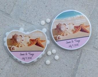 Personalized Wedding Mints Party Favor Beach Theme Heart Mints Round Wedding Mints Custom Design Party Mints Waterproof Label Event Mints