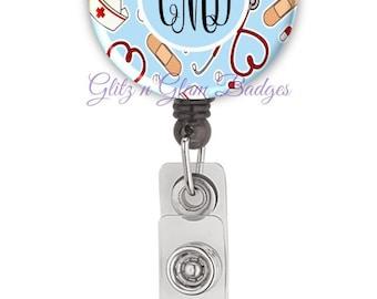 Medical Personalized Badge Reel, Custom Retractable Badge Holder, Monogram Badge Reels, MD Doctor Badge Reel, RN Nurse Badge Reel - GG2233