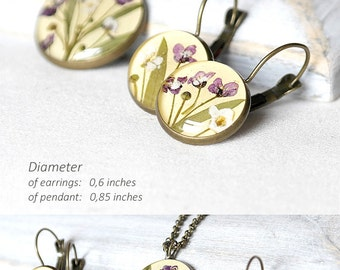 Flower wedding gift for bridesmaid set gift Boho jewelry for bridesmaid present Yellow set Purple jewelry Yellow jewelry set for bridesmaid
