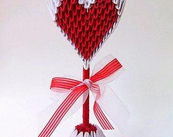 3d Origami Heart Topiary, 3d Origami Heart, Heart Tree, Heart Topiary, Paper Heart, Origami Heart