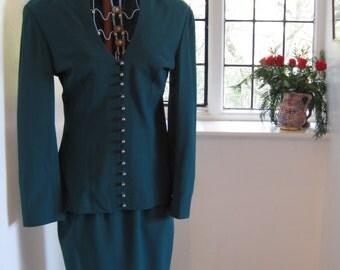 Ozbek Designer Vintage Green Wool Skirt Suit
