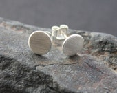 """Brushed silver circle stud earrings. Brushed round flat silver stud earrings. """"Classic Solid Circle Studs - 8mm""""."""