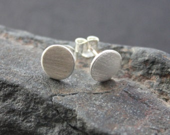 "Brushed silver circle stud earrings. Brushed round flat silver stud earrings. ""Classic Solid Circle Studs - 8mm""."