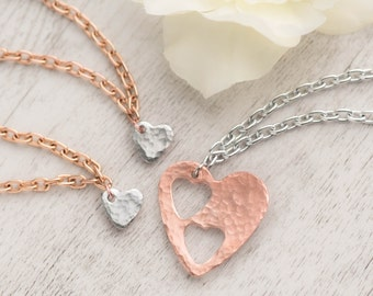mother daughter set of 3 rose gold heart cutout bracelets as gift for mom from 2 daughters gift set with love between mother is forever card