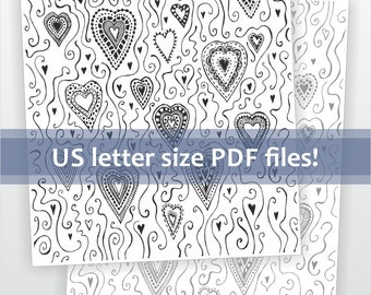 Printable hearts pattern downloadable file. DIY romantic Valentines card supplies. Black and white graphic art printable for paper crafts.