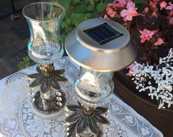 Solar lamp candle holder, outdoor decor, Wedding table centerpiece, Mother's Day, solar lights, solar lamp, wedding centerpiece