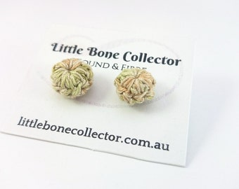 Forest Moss crochet button earrings, Surgical steel studs - Glue free
