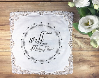 Matron of honor handkerchief proposal/invitation gift - hand illustrated - one colour as shown - text as shown