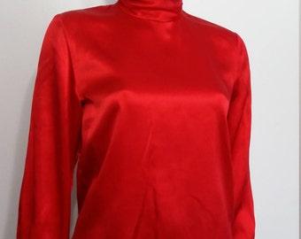 Red silk blouse, S, M, silk blouse, red blouse, red top, silk top, holiday top, holiday blouse, formal blouse