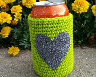 Lime Green Cozy with Gray Glitter Heart