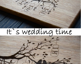 Romantic Love Gift for Girlfriend Wife Custom Wedding Personalized Tree Birds Cutting Board Initials Wood Anniversary 5 year Valentines Day