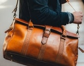 Men's Duffle Bag Leather, Weekender Bag, Leather Holdall, Classic Carry Lite Holdall, Lightweight Luggage, Carry on Baggage, Brown Men's Bag