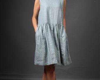 Linen dress, Casual linen clothing, Flax dress, Linen tunic dress, Midi Summer dress, Oversized tunic, Loose linen blouse, Short dress