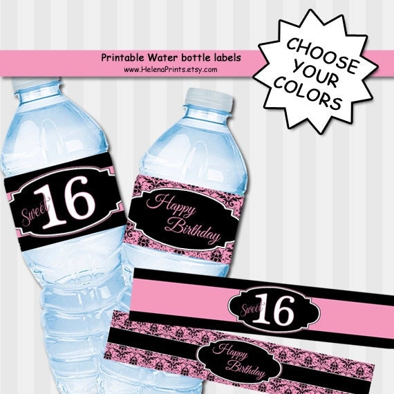 Sweet 16 CHOOSE YOUR COLORS Drink wrappers labels by ...