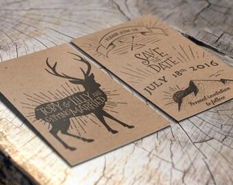 Mountain Deer Save The Date Wedding Invitations   Rustic Wedding Invites,  Kraft Card Invitations,