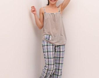 Blue-plaid pajama set, wide leg pajama, wide leg pyjamas, loose fitted pajama, women sleepwear,  women lounge wear