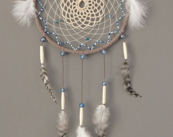 Dream-catcher in blue and gray pearls