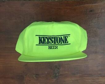 Vintage New Deadstock Keystone Beer Keystone Light Neon America Snapback Hat Baseball Cap