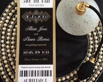 Art Deco Save the Date, Gold/Black Great Gatsby, Art Deco Wedding Invitation, Ticket Invitation.  Matching gold envelopes included.