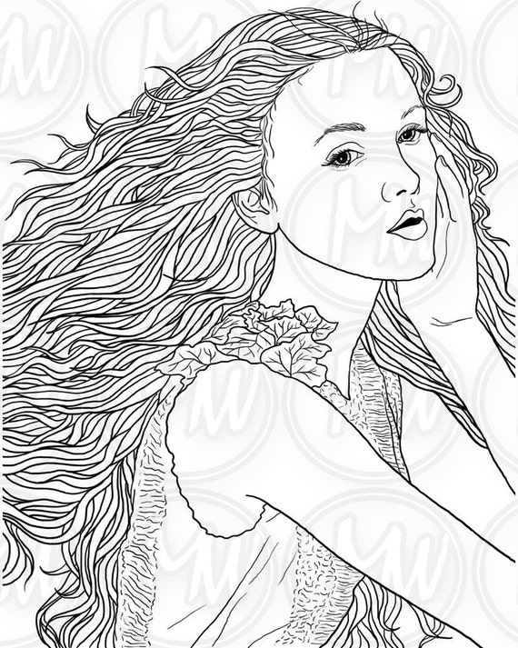 adult coloring page woman face long hair illustration beautiful printable digital stamp black and white instant download 012 - Hair Coloring Pages