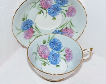 Paragon mint green cup and saucer with mums stunning 406